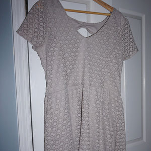 Beige Capped-Sleeve Dress